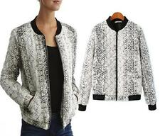 Fashion Women Ladies Long Sleeve Blazer Snake Skin Print Zip Up Jacket  Coat