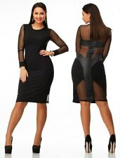 Ladies Celeb Black Long Sleeve Bodycon Cocktail Party Club Elegant Tunic Dress