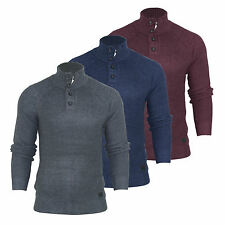 Mens Funnel Neck Ribbed Jumper Brave Soul 'Renatus' Zip Botton Pullover S-XL