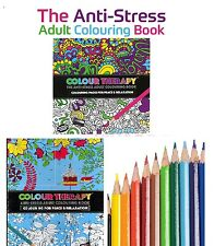 NEW ADULT COLOURING BOOK, COLOUR THERAPY ANTI STRESS DOODLE ART BOOKS ADULT FUN