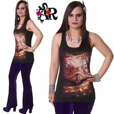 SPIRAL DIRECT SNAKE EYE RAZOR BACK T VEST TOP  BLACK GOTHIC