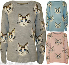 Ladies Women's Cat Face Animal Print Long Sleeve Knitted Jumper Sweatshirt Top