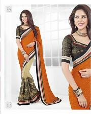 Orange Georgette & Broket Blouse with Resham, Saree