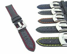 Leather Coloured Perforated High Quality Padded Watch Band Strap 18,20,22,24mm