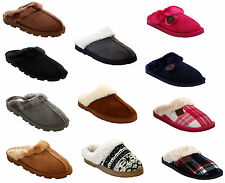 NEW WOMENS LADIES WINTER FUR LINED WARM SLIP ON HARD SOLE MULES SLIPPERS UK 3-8