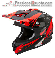 Casco moto Cross Scorpion VX-15 Evo Air Krush rosso fluo enduro motard off road