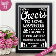 Cheers to Love Laughter & Happily Ever After PERSONALISED Wedding Signs Vintage