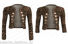 Womens Ruched Sleeve Military Style Brown Leopard Ladies Shrug Bolero Top SM ML