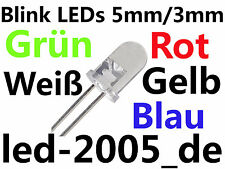 30 x Blink LED 3mm, 5mm Weiß,Blau,Rot,Grün,Gelb 1Hz Frequenz MEGAHELL,BLINK LED