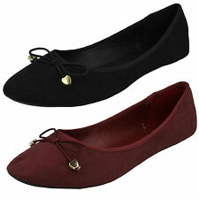 LADIES SPOT ON CASUAL SLIP ON BOW DETAIL FLAT BALLERINA SHOES F80012