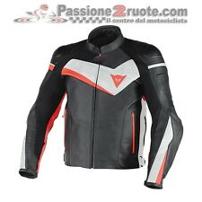 Giacca pelle Dainese Veloster Nero Bianco Rosso Black White Red leather Jacket