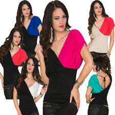 Manga Corta Mujer Top camiseta camisa Punto fino S 34 36 Party Disco Moda