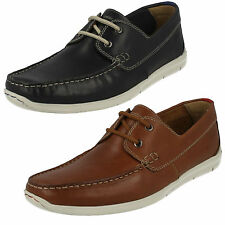 MENS CLARKS LACE UP LEATHER CASUAL LIGHTWEIGHT DECK SHOES SIZE KARLOCK STEP