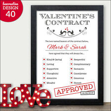 Romantic Valentine's Gift - PERSONALISED LOVE CONTRACT Wife Husband Him Her
