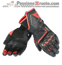 Guanti Dainese Carbon D1 Lunghi Nero Nero Rosso-Fluo Moto Gloves