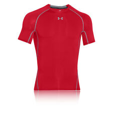 Under Armour HeatGear Mens Red Short Sleeve Compression T Shirt Tee Top