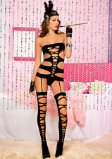 Cut Out Cami Garter + Faux Suspenders + Stockings Sexy Underwear Lingerie P2639