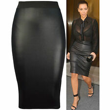 Womens Ladies Sexy High Waist Faux Leather Wet Look Bodycon Pencil Skirt 8-24