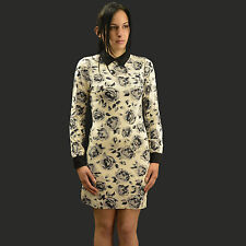 Ladies Beige Grey Floral Contras Collar Shift Dress