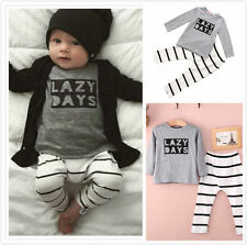 2pcs Toddler Baby Girl Boy T-shirts Top Pants Romper Outfits Clothing Set 3-24M