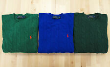 Polo Ralph Lauren Men Lambswool Cable Knit Crew Neck Jumper Sweater Brand New