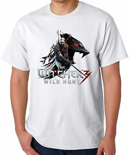 Witcher Wild Hunt t shirt Gamer Mens or womans White and grey Top T Shirt Tee