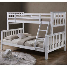 Solid Wooden White Triple Bunk Bed Single Double Size Quality 3 Sleeper Cheap