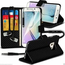 Leather Book Wallet Phone Case Cover+Stereo Headphones for Samsung
