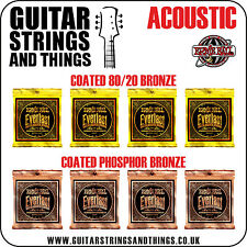 Ernie Ball EVERLAST COATED Phosphor & 80/20 Acoustic Guitar Strings- ALL GAUGES