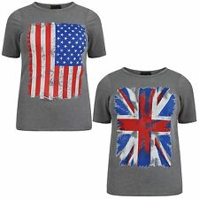 New Ladies Short Sleeve Grey Union Jack And American Flag Print T-Shirts 12-26