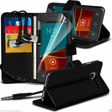 Leather Book Wallet Phone Case Cover+Stereo Headphones for Vodafone