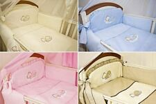 6 Pcs Embroidered Baby Bedding Set + Fitted Sheet Fits Cot Cot Bed Sleeping Bear