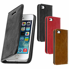Housse Etui Portefeuille Cuir Apple iPhone 5 / 5S - Clapet Grainé