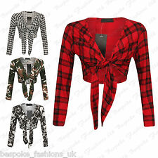 Women's Long Sleeve Tartan, Army Print Tie up Ladies Bolero Shrug Cardigan Top