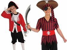 Childrens Pirate Fancy Dress Costume Halloween Caribbean Pirates Outfit 4-12 Yrs
