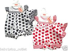 Baby Girls Spotty Romper & Sun Hat Set 0-3 3-6 6-9 Months 2 Piece Set Red / Navy