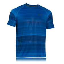 Under Armour Printed Tech Mens Blue Short Sleeve Crew Neck T Shirt Tee Top