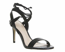 Womens Office Midnight Strappy Ankle Tie Heels BLACK CROC LEATHER Heels