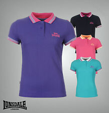 Ladies Branded Lonsdale Casual 2 Stripe Polo Shirt Short Sleeves Top Size 8-20