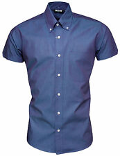 Relco Mens Two Tone Tonic Blue Shirt NEW Short Sleeve Mod Retro Skin Vintage