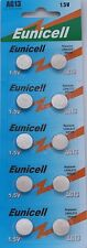 50 X EUNICELL AG13 LR44 SR44 L1154 357 A76 ALKALINE BUTTON/COIN CELLS BATTERIES