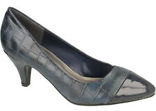 """SALE Spot On F9735 Ladies Navy Synthetic Snake Print 2.75"""" Slim Heel Court Shoes"""