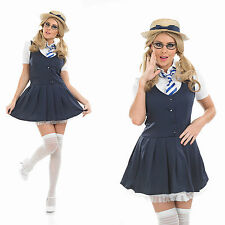 Ladies Sexy School Girl Fancy Dress Costume St Trinians Britney Outfit UK 8-30