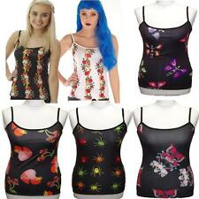 STRAPPY  VEST TOP SKULLS & DAGGER TATTOO GOTHIC SIZE 10-12 FLAME  ALTERNATIVE