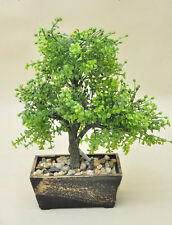 Bonsai Tree in Wooden Pot, Artificial Plant Decoration for Office and Home 33 cm