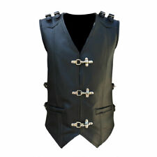 MENS MOTORCYCLE BIKERS WAISTCOAT REAL COW LEATHER BLACK STYLE VEST