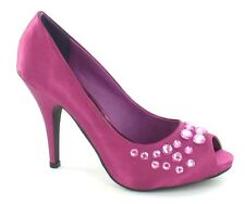 "*SALE* Spot On F1428 Ladies Magenta Satin 4.5"" Stiletto Heeled Court Shoes"