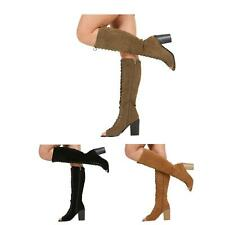 NEW WOMENS LADIES KNEE HIGH HEEL LACE UP PEEPTOE BOOTS SHOES SIZE 3-8
