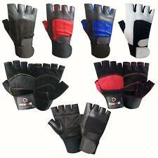 Weight lifting leather padded gloves fitness training body building gym straps