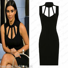 Ladies Women Celeb Sleeveless Sexy Cage Neck Cut Out Bodycon Party Dress 8-14